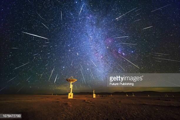XILINGOL CHINA DECEMBER Gemini meteor shower Ming'antu Observatory Xilingol Inner Mongolia China December 14 2018PHOTOGRAPH BY Costfoto / Barcroft...