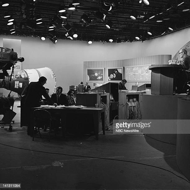 NBC NEWS Gemini VIII Launch Aired 03/16/66 Pictured NBC News' David Brinkley Frank McGee inside NBC News room during the launch of the Gemini VIII...