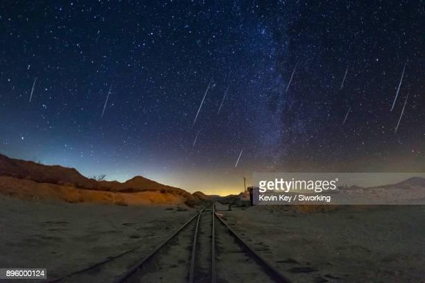 Geminid Meteor Shower over trail tracks in the desert