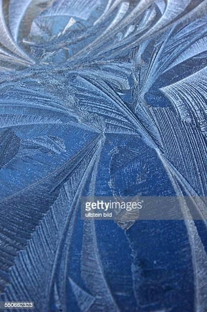 Gemälde wie sie nur die Natur erschafft filigran und krativ sind diese Eisblumen auf dem Dach eines Pkw am frühen Morgen nach leichtem Frost in...