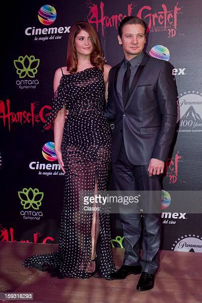 Gemma Artenton and Jeremy Renneren on the red carpet at the presentation of the movie Hansel and Gretel Witch Hunters on January 10 2013 in Mexico...