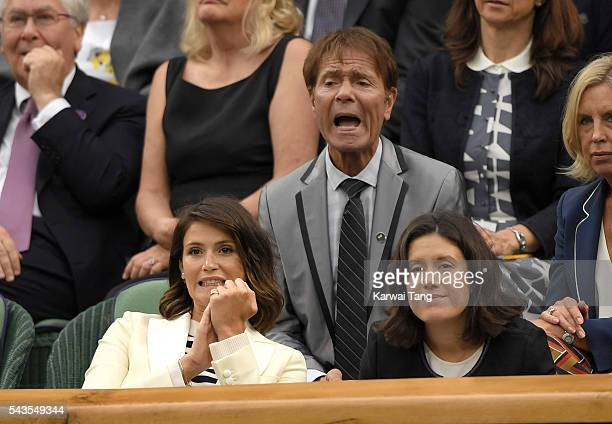 Gemma Arterton and Cliff Richard attend day three of the Wimbledon Tennis Championships at Wimbledon on June 29 2016 in London England