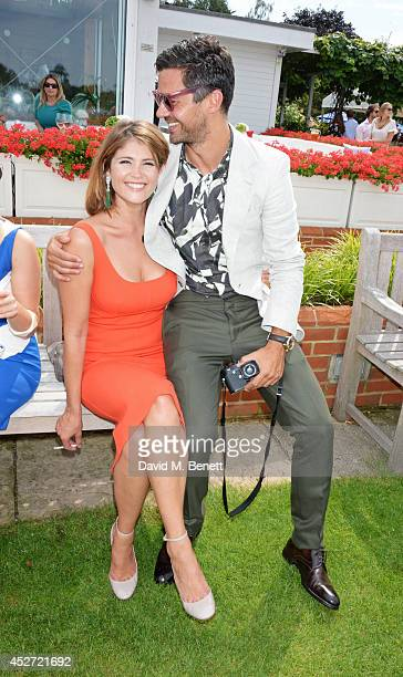Gemma Arterton and Dominic Cooper attend Audi International at Guards Polo Club near Windsor to support England as it faces Argentina for the...