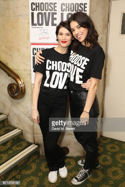 Gemma Arterton and Gala Gordon attend the Choose Love fundraiser in aid of Help Refugees at The Fortune Theatre on February 19 2018 in London England