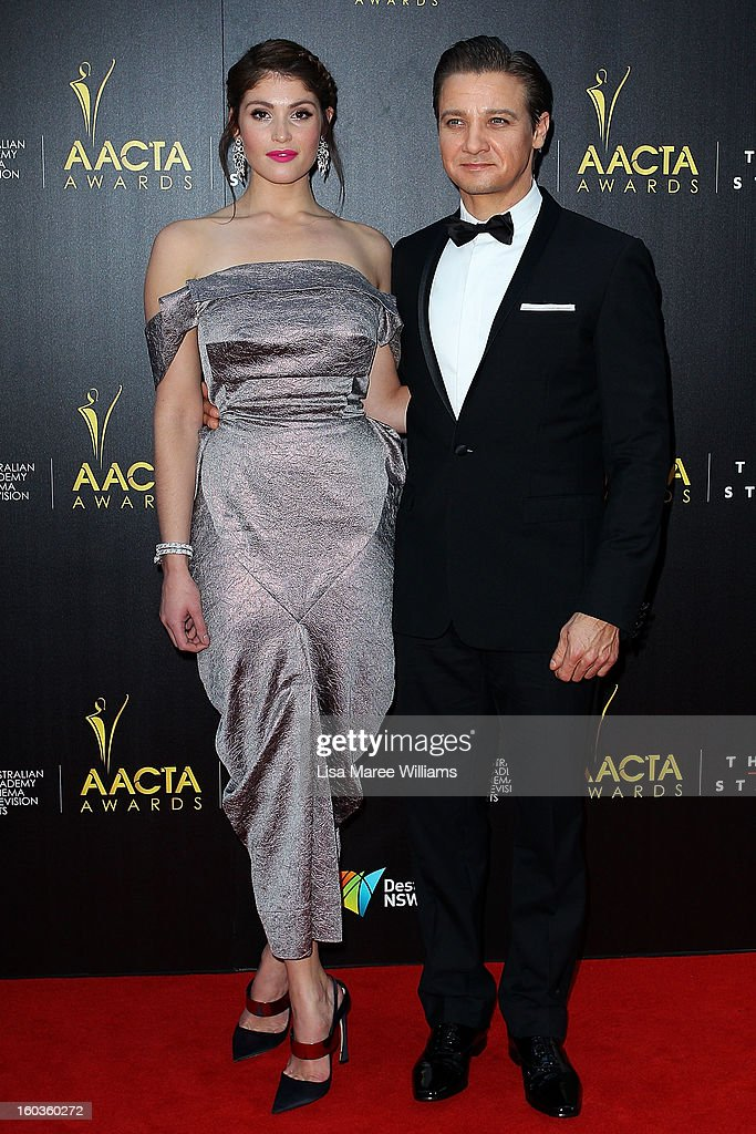 Gemma Arterton and Jeremy Renner arrive at the 2nd Annual AACTA Awards at The Star on January 30, 2013 in Sydney, Australia.