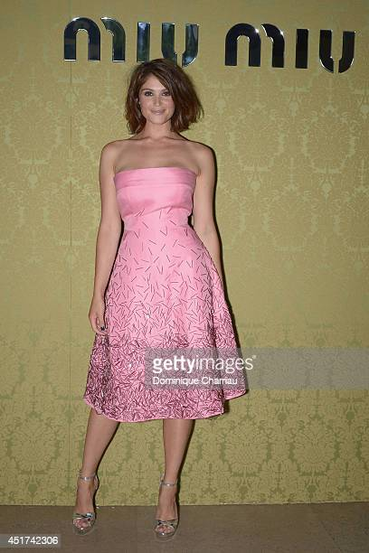 Gemma Arterton attends the Miu Miu Resort Collection 2015 at Palais d'Iena on July 5 2014 in Paris France