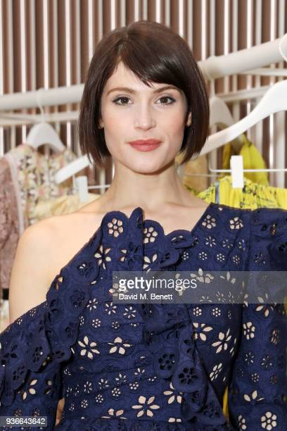 Gemma Arterton attends the Self-Portrait store opening cocktail party on March 22, 2018 in London, England.