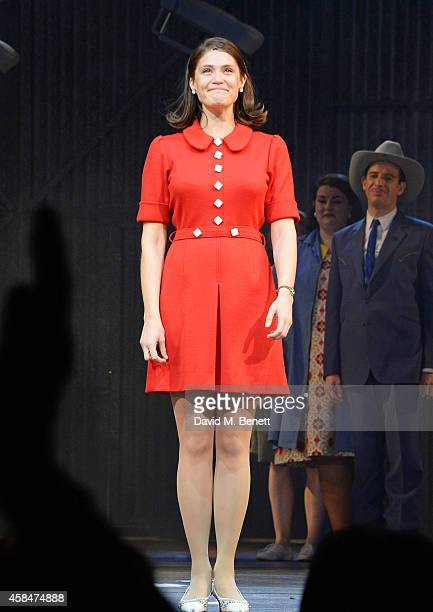 Gemma Arterton bows at the curtain call during the press night performance of Made In Dagenham at The Adelphi Theatre on November 5 2014 in London...
