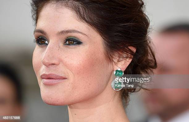 "Gemma Arterton, earring detail, attends the UK Premiere of ""Gemma Bovery"" at Somerset House on August 6, 2015 in London, England."
