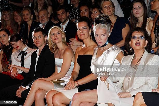 Gemma Arterton Hugh Dancy Claire Danes Roberta Armani Daphnee Guinness and Claudia Cardinale attend the Giorgio Armani Prive show as part of the...