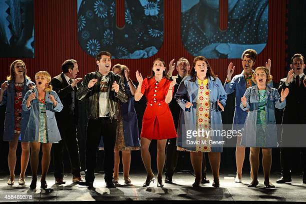 Gemma Arterton performs with cast including Sophie Isaacs Adrian der Gregorian Isla Blair Emma Lindars and SophieLouise Dann during the curtain call...