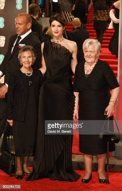 Gemma Arterton poses with Eileen Pullen and Gwen Davis at the EE British Academy Film Awards held at Royal Albert Hall on February 18 2018 in London...