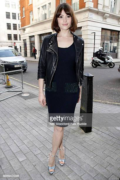 Gemma Arterton seen arriving at the BBC Radio 1 Studios on March 12 2015 in London England