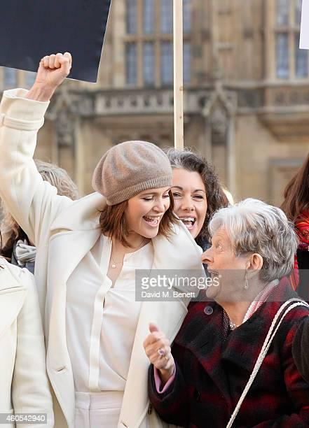 Gemma Arterton star of West End musical Made In Dagenham and reallife Dagenham striker Eileen Pullen join Grazia Magazine and UNITE to celebrate...