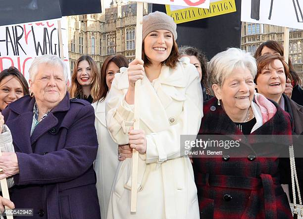Gemma Arterton star of West End musical Made In Dagenham and Reallife Dagenham strikers Vera Simem and Eileen Pullen join Grazia Magazine and UNITE...