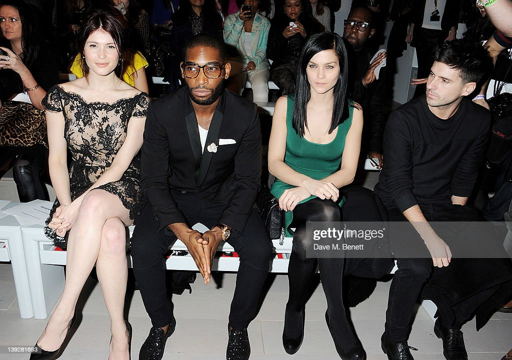 Gemma Arterton, Tinie Tempah, Leigh Lezark and Geordon Nicol sit in the front row at the Issa London catwalk show during London Fashion Week Autumn/Winter 2012 at Somerset House on February 18, 2012 in London, England.