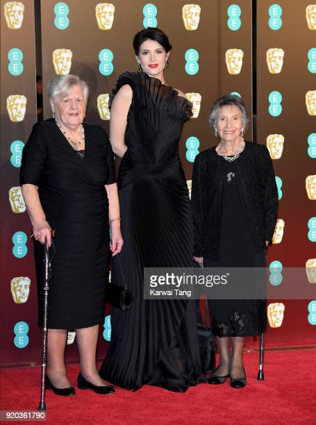 Gemma Arterton with Eileen Pullen and Gwen Davis at the EE British Academy Film Awards held at the Royal Albert Hall on February 18 2018 in London...