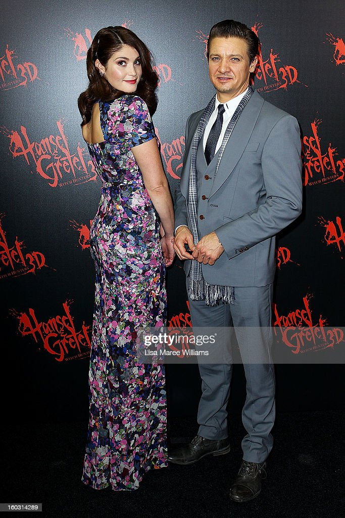 Gemma Artertonand Jeremy Renner arrive at the Australian Premiere of 'Hansel & Gretel Witch Hunters' at Event Cinemas on January 29, 2013 in Sydney, Australia.