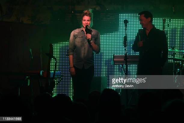 Gemma Atkinson and Dave Vitty introduce Tom Walker at the Deaf Institute for Hits Radio on March 02 2019 in Manchester England