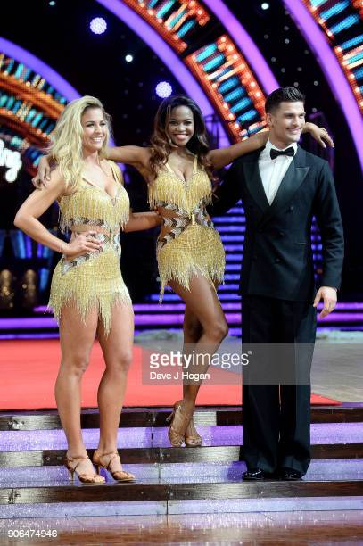 Gemma Atkinson Oti Mabuse and Alijaz Skorjanec attend the 'Strictly Come Dancing' Live photocall at Arena Birmingham on January 18 2018 in Birmingham...