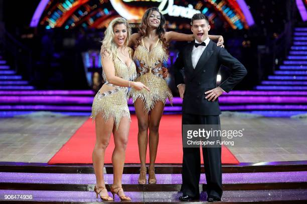 Gemma Atkinson Oti Mabuse and Aljaz Skorjanec attend the 'Strictly Come Dancing' Live photocall at Arena Birmingham on January 18 2018 in Birmingham...
