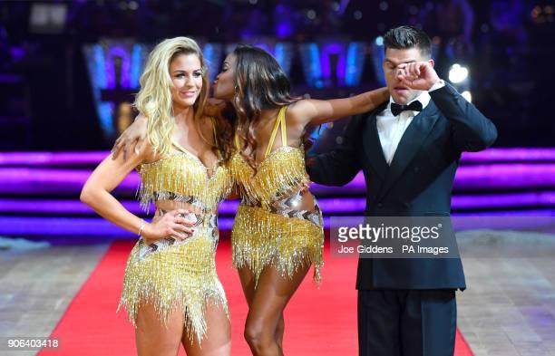 Gemma Atkinson Oti Mabuse and Aljaz Skorjanec during the Strictly Come Dancing Live Tour Launch held at Arena BirminghamÂ
