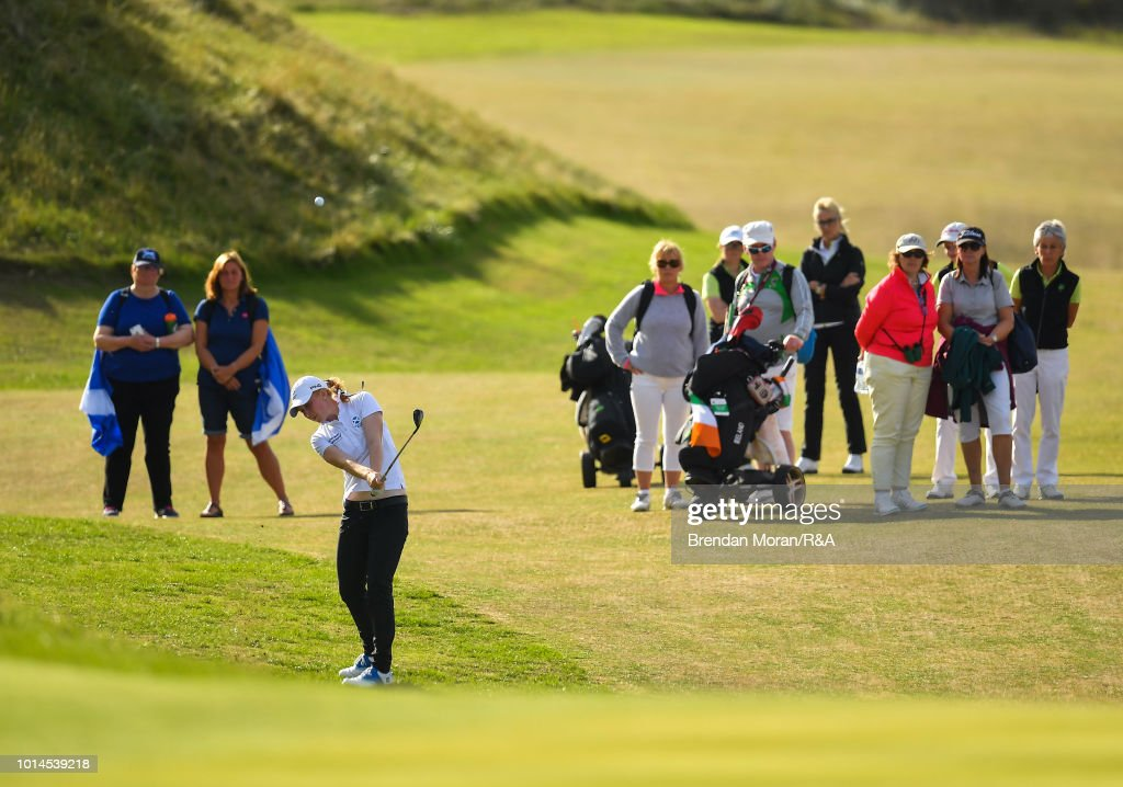 Gemma Batty of Scotland chips onto the 16th green on her third shot during her Singles match at the Ladies' and Girls' Home Internationals at Ballybunion Golf Club on August 10, 2018 in Ballybunion, Ireland.