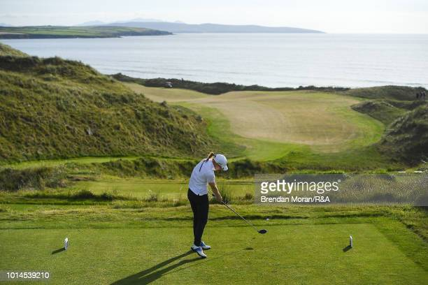 Gemma Batty of Scotland tees off at the 17th tee box during her Singles match at the Ladies' and Girls' Home Internationals at Ballybunion Golf Club...