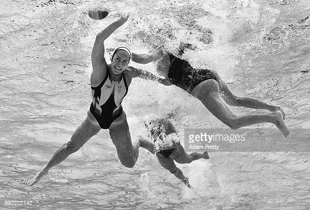 Gemma Beadsworth of Australia competes during the Women's Water Polo 5th 6th Classification match between Australia and Spain on Day 14 of the Rio...