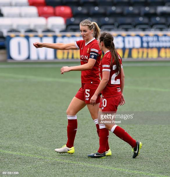 Gemma Bonner and Katie Zelem of Liverpool Ladies talk during a WSL 1 match between Liverpool Ladies and Manchester City Women at Select Security...