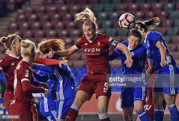 Gemma Bonner of Liverpool comes close with a header during the WSL match between Liverpool Ladies and Birmingham City Ladies at Select Security...