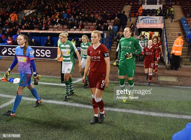 Gemma Bonner of Liverpool Ladies leads her team out before the FA Women's Super League match between Liverpool Ladies and Yeovil Town Ladies at...