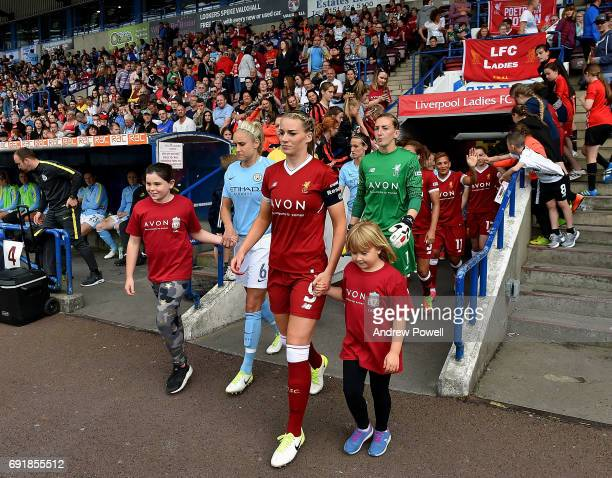 Gemma Bonner of Liverpool Ladies leads the team out before the WSL 1 match between Liverpool Ladies and Manchester City Women at Select Security...