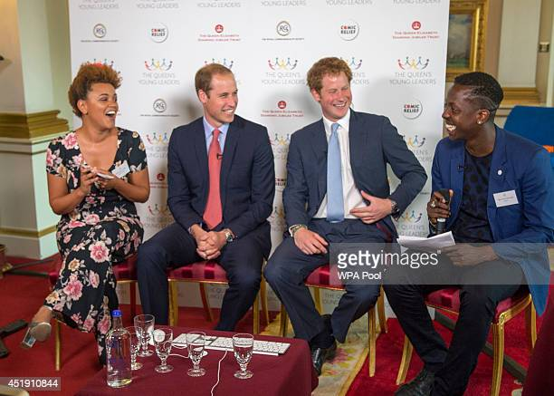 Gemma Cairney Prince William Duke of Cambridge Prince Harry and Jamal Edwards during the launch of The Queen's Young Leaders Programme at Buckingham...