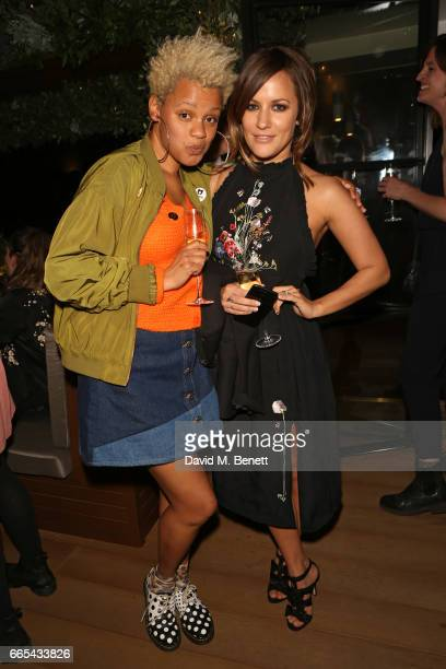Gemma Carney and Caroline Flack attend the launch of new book The Cows by Dawn O'Porter at the Marylebone Hotel on April 6 2017 in London England