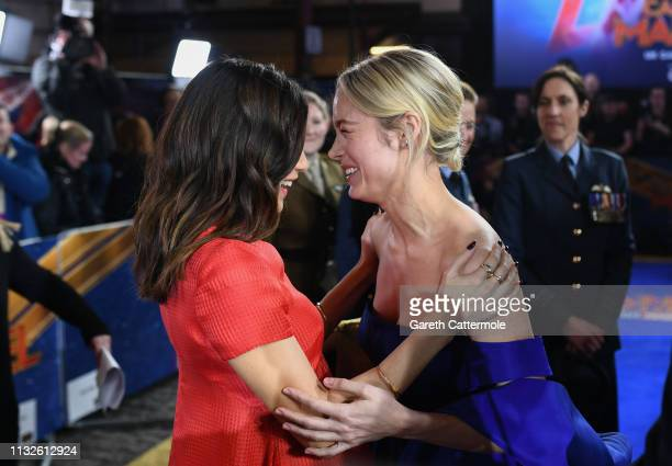 Gemma Chan and Brie Larson attend the UK Gala Screening of Marvel Studios' Captain Marvel at The Curzon Mayfair on February 27 2019 in London England