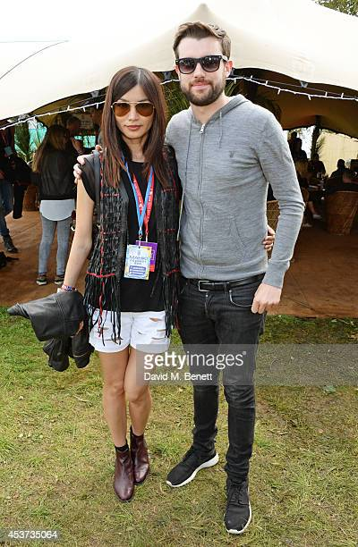 Gemma Chan and Jack Whitehall attend the Mahiki Rum Bar for the launch of the Mahiki Rum Family backstage during day 2 of the V Festival 2014 at...