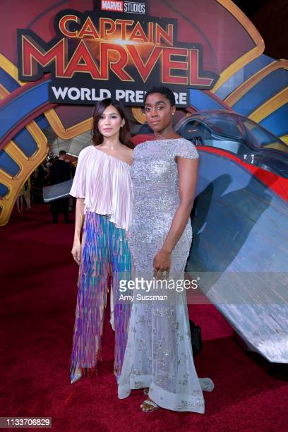 Gemma Chan and Lashana Lynch attend Marvel Studios Captain Marvel Premiere on March 04 2019 in Hollywood California