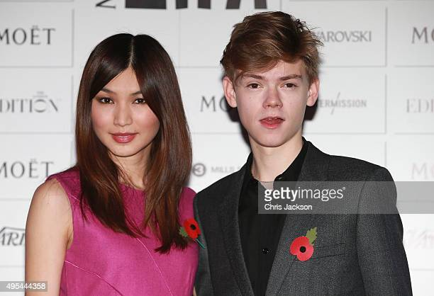 Gemma Chan and Thomas BrodieSangster announce the The Moet British Independent Film Awards at The London Edition Hotel on on November 3 2015 in...