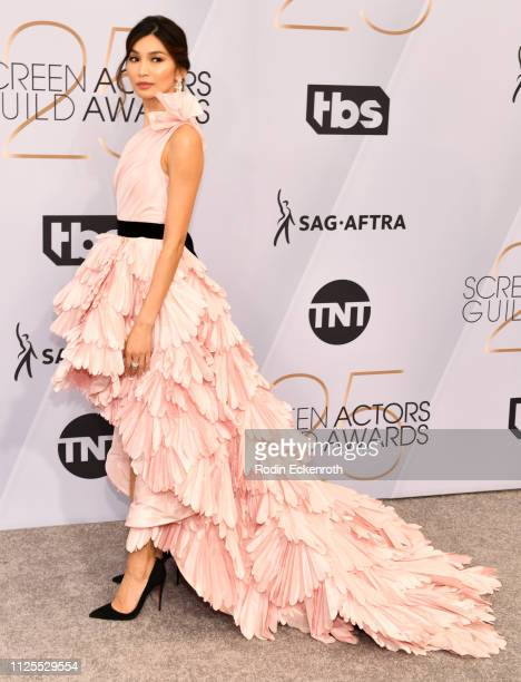 Gemma Chan arrives at the 25th Annual Screen Actors Guild Awards at The Shrine Auditorium on January 27 2019 in Los Angeles California