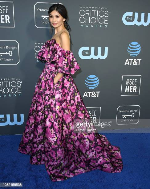 Gemma Chan arrives at the The 24th Annual Critics' Choice Awards attends The 24th Annual Critics' Choice Awards at Barker Hangar on January 13 2019...