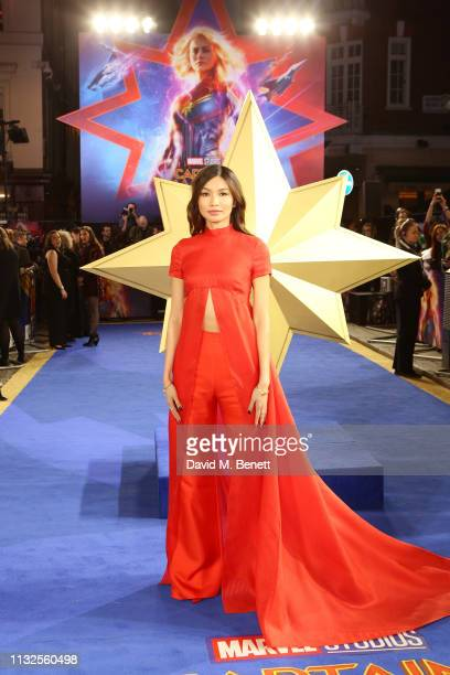 """Gemma Chan attends the European Gala screening of """"Captain Marvel"""" at The Curzon Mayfair on February 27, 2019 in London, England."""