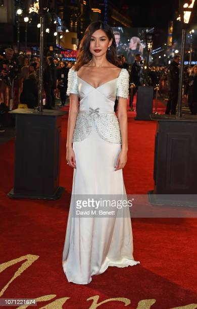 """Gemma Chan attends the European Premiere of """"Mary Queen Of Scots"""" at Cineworld Leicester Square on December 10, 2018 in London, England."""