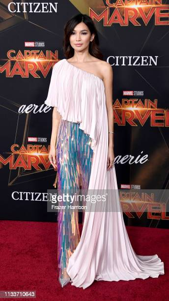 "Gemma Chan attends the Marvel Studios ""Captain Marvel"" premiere on March 04, 2019 in Hollywood, California."