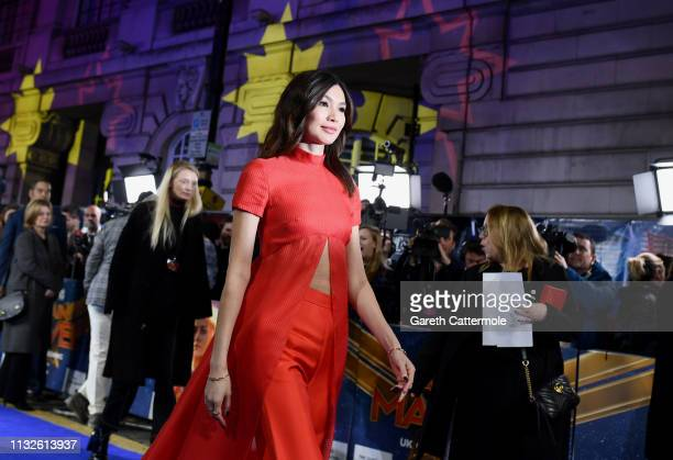 Gemma Chan attends the UK Gala Screening of Marvel Studios' Captain Marvel at The Curzon Mayfair on February 27 2019 in London England