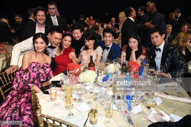 Gemma Chan, Jon M. Chu, Michelle Yeoh, Ken Jeong, Constance Wu, Chris Pang, Awkwafina, and Harry Shum Jr., winners of Best Comedy Movie for 'Crazy...
