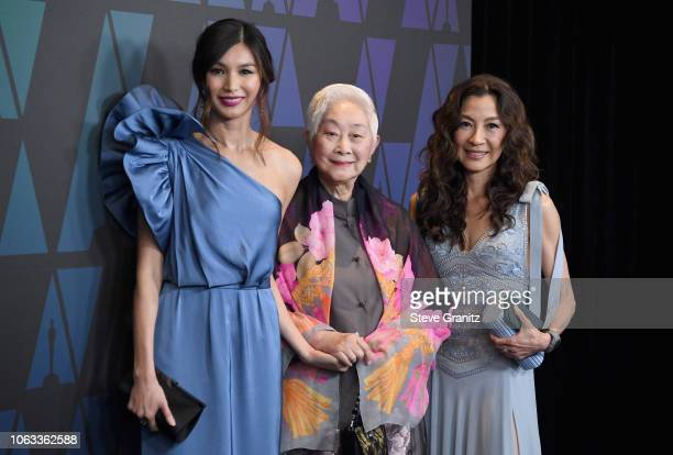 Gemma Chan Lisa Lu and Michelle Yeoh attend the Academy of Motion Picture Arts and Sciences' 10th annual Governors Awards at The Ray Dolby Ballroom...