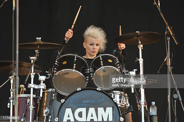 Gemma Clarke performs on stage with Adam Ant during the third and final day of Hard Rock Calling 2011 at Hyde Park on June 26 2011 in London United...