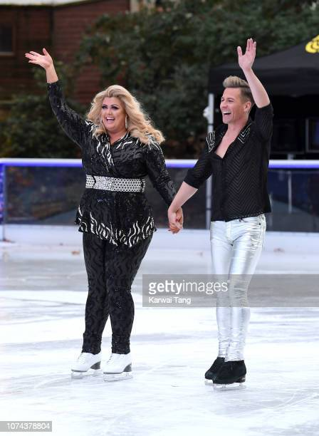 Gemma Collins and Matt Evers attend a photocall for the new series of Dancing On Ice at Natural History Museum Ice Rink on December 18 2018 in London...