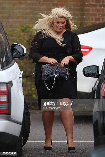 Gemma Collins departs the funeral of David Gest at Golders Green Crematorium on April 29 2016 in London England